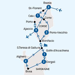 Carte Corse Ajaccio.Corse Sardaigne Tours Chanteclerc